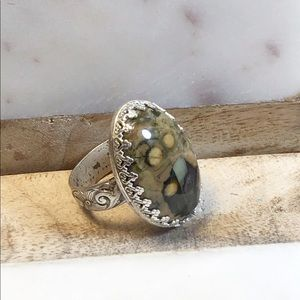 Statement Unakite and Sterling Silver Ring, 7.5